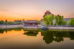 Beijing, China Forbidden City. Outer moat at dawn Royalty Free Stock Photo