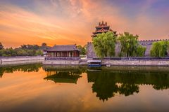 Beijing Forbidden City. Beijing, China forbidden city outer moat at dawn stock images