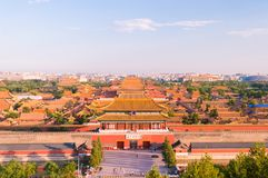 Beijing, China Forbidden City. Outer wall and gate stock photography