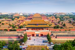 Beijing, China Forbidden City. Outer wall and gate Royalty Free Stock Images