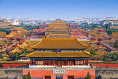 Beijing China Forbidden City. Beijing, China city skyline at the Forbidden City Stock Photos