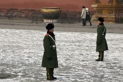 Beijing China, guards standing to attention in courtyard at the Forbidden City royalty free stock photo