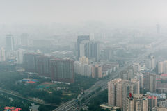 Beijing China Haze City View From Above Stock Image