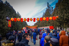 BEIJING, CHINA - 29 JANUARY, 2017: Attending new year celebration festival in temple of earth park, lots of red Royalty Free Stock Image