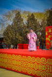 BEIJING, CHINA - 29 JANUARY, 2017: Attending new year celebration festival in temple of earth park, lots of red Stock Photos