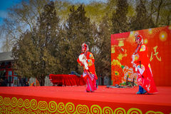 BEIJING, CHINA - 29 JANUARY, 2017: Attending new year celebration festival in temple of earth park, lots of red Royalty Free Stock Photo