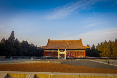 BEIJING, CHINA - 29 JANUARY, 2017: Beautiful temple building inside forbidden city, typical ancient Chinese architecture. Nice blue sky Stock Photography