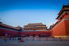 BEIJING, CHINA - 29 JANUARY, 2017: Beautiful temple building inside forbidden city, typical ancient Chinese architecture. Nice blue sky Royalty Free Stock Photos