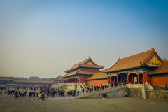 BEIJING, CHINA - 29 JANUARY, 2017: Beautiful temple building inside forbidden city, typical ancient Chinese architecture. Nice blue sky Royalty Free Stock Image