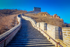 BEIJING, CHINA - 29 JANUARY, 2017: Extremely steep concrete steps leading up the great wall, beautiful sunny day. Located at Juyong tourist site Royalty Free Stock Image