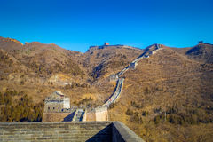 BEIJING, CHINA - 29 JANUARY, 2017: Fantastic view of impressive great wall on a beautiful sunny day, located at Juyong Royalty Free Stock Photography