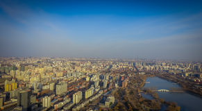 BEIJING, CHINA - 29 JANUARY, 2017: Incredible views over capitol city from top of old CCTV tower, buildings visible as Royalty Free Stock Photos