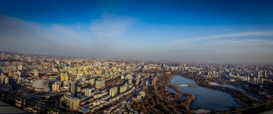 BEIJING, CHINA - 29 JANUARY, 2017: Incredible views over capitol city from top of old CCTV tower, buildings visible as Royalty Free Stock Image