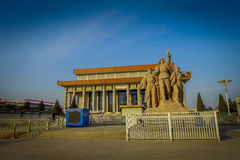 BEIJING, CHINA - 29 JANUARY, 2017: Mao memorial hall, located on Tianmen square, statue tribute to chinese workers in Royalty Free Stock Photos