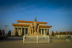 BEIJING, CHINA - 29 JANUARY, 2017: Mao memorial hall, located on Tianmen square, statue tribute to chinese workers in Stock Image