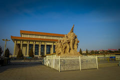 BEIJING, CHINA - 29 JANUARY, 2017: Mao memorial hall, located on Tianmen square, statue tribute to chinese workers in Royalty Free Stock Image