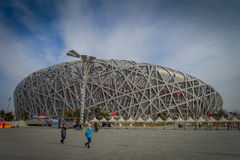 BEIJING, CHINA - 29 JANUARY, 2017: Spectacular birds nest stadium located inside modern olympic sports center, beautiful. Arena with a unique design and Stock Photo
