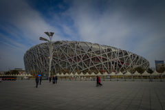 BEIJING, CHINA - 29 JANUARY, 2017: Spectacular birds nest stadium located inside modern olympic sports center, beautiful Stock Photos