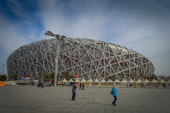 BEIJING, CHINA - 29 JANUARY, 2017: Spectacular birds nest stadium located inside modern olympic sports center, beautiful. Arena with a unique design and Royalty Free Stock Photography