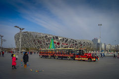 BEIJING, CHINA - 29 JANUARY, 2017: Spectacular birds nest stadium located inside modern olympic sports center, beautiful. Arena with a unique design and Stock Photography