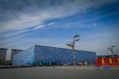 BEIJING, CHINA - 29 JANUARY, 2017: Spectacular national aquatics arena located inside modern olympic sports center. Beautiful building with a unique cube Stock Photography