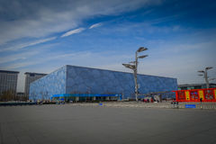 BEIJING, CHINA - 29 JANUARY, 2017: Spectacular national aquatics arena located inside modern olympic sports center. Beautiful building with a unique cube Stock Photo