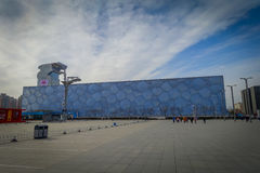 BEIJING, CHINA - 29 JANUARY, 2017: Walking around modern olympic sports center looking at different arenas, nice blue. Sky Royalty Free Stock Photos