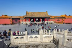 BEIJING, CHINA - MARCH 11, 2016: Forbidden City.  People visit t Royalty Free Stock Images