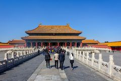 BEIJING, CHINA - MARCH 11, 2016: Forbidden City.  People visit t Stock Photo