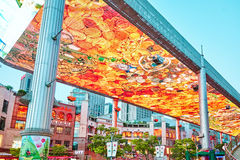 BEIJING, CHINA - MAY 20, 2015: Biggest screen of LSD in the worl. D installed in Beijing, on the Jia No.9 Guanghua Road street for the purpose of advertising Royalty Free Stock Photo