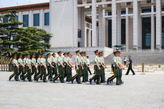 BEIJING, CHINA - MAY 18, 2016: Chinese soldiers in Tiananmen squ Royalty Free Stock Photography