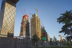 Modern architecture in Beijing, China. BEIJING, CHINA - MAY 12, 2016: Constructing new modern buildings in Beijing, China stock photo