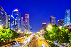 BEIJING, CHINA - MAY 20, 2015:Evening, night modern Beijing business quarter of the capital, the streets of the city with. Beautiful skyscrapers. Beijing. China royalty free stock photos