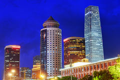 BEIJING, CHINA - MAY 20, 2015:Evening, night modern Beijing business quarter of the capital, the streets of the city with. Beautiful skyscrapers. Beijing. China stock images