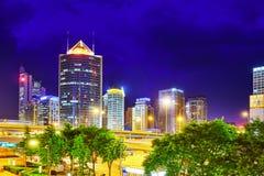 BEIJING, CHINA - MAY 20, 2015:Evening, night modern Beijing busi Stock Photos