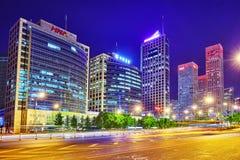 BEIJING, CHINA - MAY 20, 2015:Evening, night modern Beijing busi Royalty Free Stock Photos