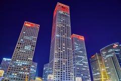 BEIJING, CHINA - MAY 20, 2015:Evening, night modern Beijing busi Royalty Free Stock Photography