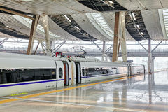 BEIJING, CHINA- MAY 23, 2015: High speed train at the railways s Royalty Free Stock Image