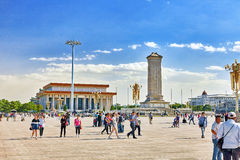 BEIJING, CHINA - MAY 19, 2015: People near Monument to the Peopl stock photography