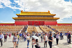 BEIJING, CHINA - MAY 18, 2015: People, tourists walking on the t Royalty Free Stock Photos