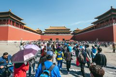 Forbidden city, Beijing, China. BEIJING, CHINA - MAY 13, 2016: People visit the Forbidden city, it was the Chinese imperial palace from the Ming dynasty to the stock image