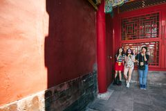 Forbidden city, Beijing, China. BEIJING, CHINA - MAY 13, 2016: People visit the Forbidden city, it was the Chinese imperial palace from the Ming dynasty to the stock photo