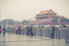 BEIJING, CHINA - 20 MAY 2018: Tianamen square and entrance to th. E Forbidden City. Square of Heavenly Peace with tourists Royalty Free Stock Image