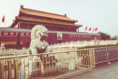BEIJING, CHINA - 20 MAY 2018: Tianamen square and entrance to th. E Forbidden City. Square of Heavenly Peace with tourists Royalty Free Stock Photography