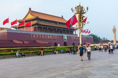 BEIJING, CHINA - 20 MAY 2018: Tianamen square and entrance to th. E Forbidden City. Square of Heavenly Peace with tourists Stock Image