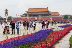 BEIJING, CHINA - 20 MAY 2018: Tianamen square and entrance to th. E Forbidden City. Square of Heavenly Peace with tourists Royalty Free Stock Photo