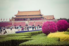 BEIJING, CHINA - 20 MAY 2018: Tianamen square and entrance to th. E Forbidden City. Square of Heavenly Peace with tourists Stock Photos