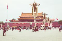 BEIJING, CHINA - 20 MAY 2018: Tianamen square and entrance to th. E Forbidden City. Square of Heavenly Peace with tourists Stock Photography