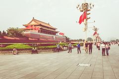 BEIJING, CHINA - 20 MAY 2018: Tianamen square and entrance to th. E Forbidden City. Square of Heavenly Peace with tourists Stock Photo
