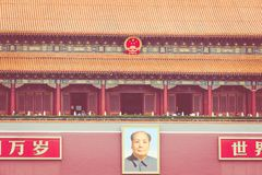 BEIJING, CHINA - 20 MAY 2018: Tianamen square and entrance to th. E Forbidden City. Square of Heavenly Peace with tourists Royalty Free Stock Images